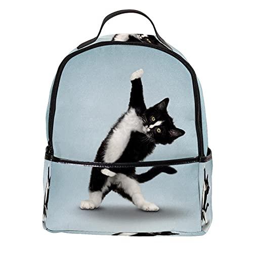 LUPIN - Zaino in pelle PU per scuola, college, per yoga, gatto