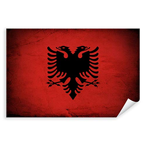 Postereck - 0321 - Vintage Flagge, Fahne Albanien Tirana - Unterricht Klassenzimmer Schule Wandposter Fotoposter Bilder Wandbild Wandbilder - Leinwand - 75,0 cm x 50,0 cm