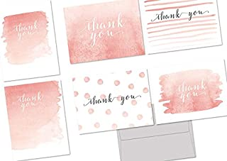 Thank You Cards – 72 Pack – Whimsical Watercolor Thank You – 6 Unique Designs – GRAY ENVELOPES INCLUDED – Blank Greeting Card – Glossy Cover Blank Inside – By Note Card Café