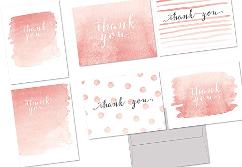 Note Card Cafe Thank You Cards with Gray Envelopes | 36 Pack | Whimsical Watercolor Thank You | Blank Inside, Glossy Finish | for Greeting Cards, Occasions, Birthdays, Gifts