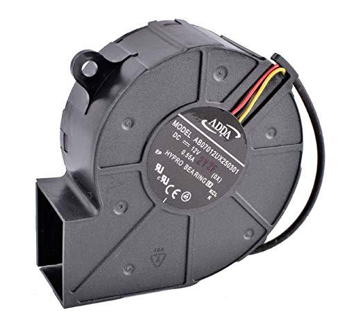 DBTLAP Ventilador Compatible para AB07012UX250301 7cm 12V 0.55A Turbina centrífuga proyector soplador Ventilador-Hole Position Distance 75mm