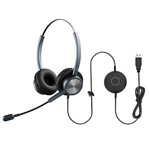 MKJ USB Headset with Microphone Noise Cancelling Skype for Business Headset Zoom Headphones with Mic for Computer with Dragon Dictation for PC Laptop Conference Calls Online Meetings Microsoft Teams