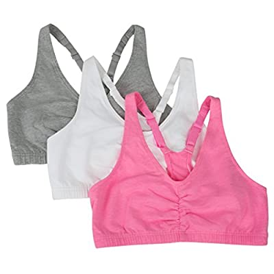 Fruit of the Loom Women's 3 Pack Shirred Front Sports Bra, Neon Pink Heather/White/Grey Heather, 34