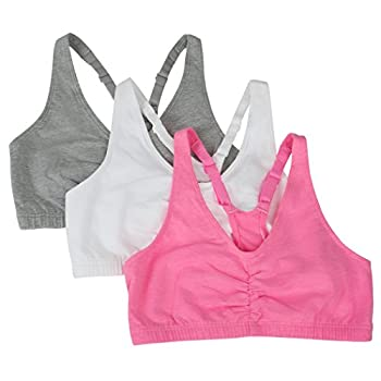 Fruit of the Loom womens Adjustable Shirred Front Racerback Sports Bra Neon Pink Heather/White/Grey - 3-pack 34 US