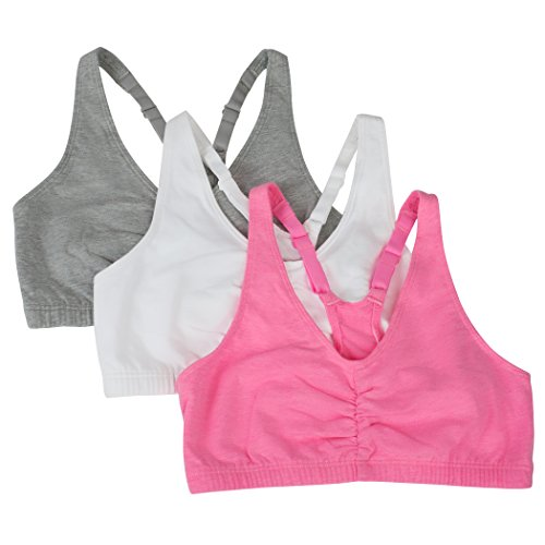 Fruit of the Loom womens Adjustable Shirred Front Racerback Sports Bra, Neon Pink Heather/White/Grey - 3-pack, 38 US