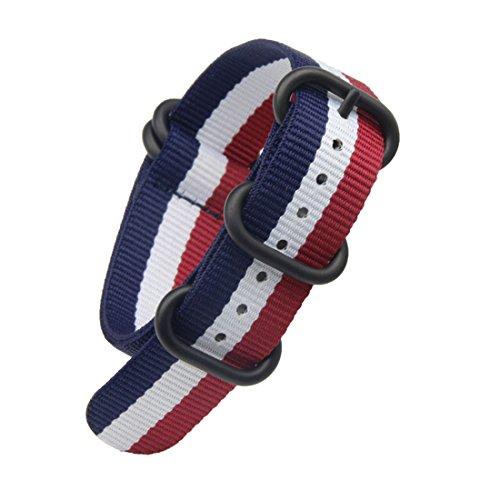 20 mm de una Sola Pieza Correas de Reloj de Estilo de la NATO perlón Nailon Azul/Blanco de Lujo/Rojo de los Hombres exquisitos Correas Textiles