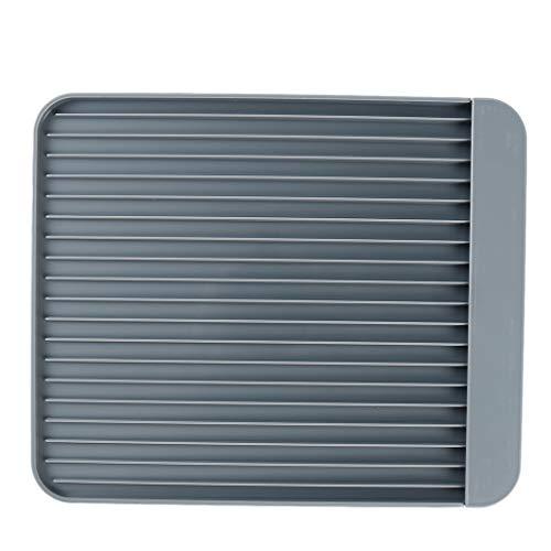 Pinhan Universal Dish Drain Board Rechteck Lebensmittelqualität Kunststoff Compact Geschirr Tasse Abtropffläche für die Küche zu Hause verwenden, grau