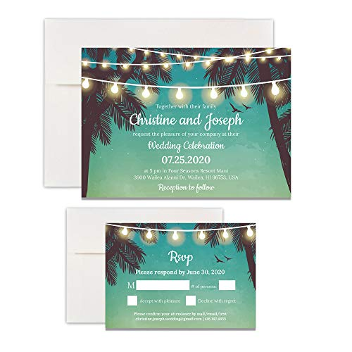 Custom - Beach Wedding Invitation Set - Set of 25, Personalized Wedding Invitation, Destination Wedding, Hawaiian Wedding (Invitation + RSVP + Envelope)