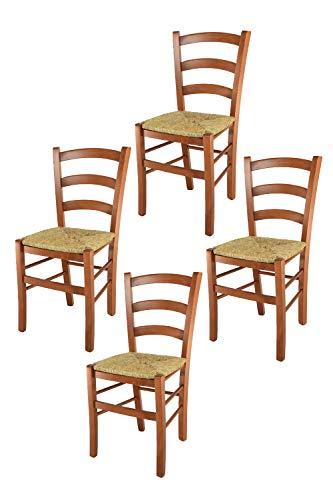 t m c s Tommychairs - Set 4 sillas Venice para Cocina y Comedor, Estructura en Madera de Haya Color Cerezo y Asiento en Paja