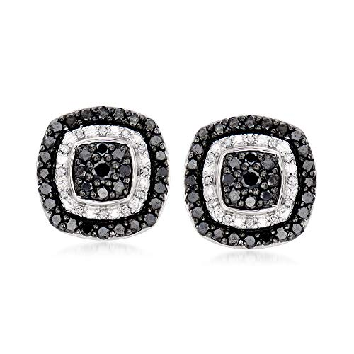 Ross-Simons 1.00 ct. t.w. Black and White Diamond Earrings in Sterling Silver