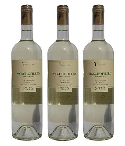 3x 750ml Moschofilero trockener Weißwein Set - Tatakis aus Griechenland griechischer Weiß Wein trocken - ein edler Sommerwein + 2 Probiersachets Olivenöl 10ml aus Kreta