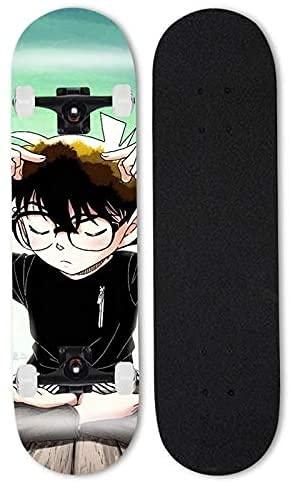ZZYYII Conan Edogawa Mapate Skateboard/Cruiser Anime Skateboard/Street Cepillo Detective Conan Double Tilt Four Wheel Scooter Principiante Profesional Monopatín