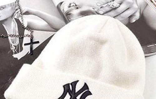 QIANWEIXI Beanie Herren Winter Strickmütze Mütze Skully Hut Baumwolle Ny Adult Cap Herren Warme Kopfbedeckung Damen Strickmode Kopfbedeckung Paar Kaffee Wintermütze Weiß