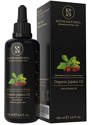 THE WINNER 01/21* ORGANIC Jojoba Oil Vegan + Cold-Pressed - 100ml Light-Protection Glass Bottle - Skin Care Rich in Vitamin E for Soft Skin & Hair & Healthy Nails - 100% Pure Natural Cosmetics