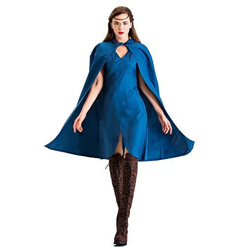 BGROEST-cloth Vestido de Dama de Halloween Disfraz de Halloween Azul for Mujer Disfraz de Adulto Capa de Hielo y Fuego Cancin Cosplay Ropa (Color : Azul, tamao : Metro)