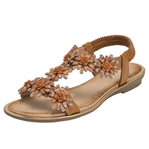 VIVASHOES Womens Bloemen Zomer Vakantie Diamante Elastische Open teen wig sandalen