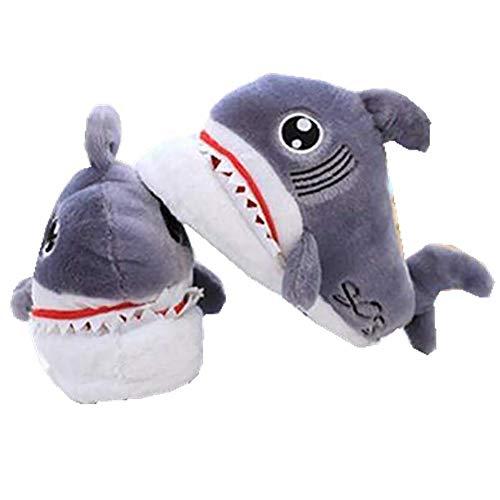 eBoutik – Emoji-Hausschuhe aus Plüsch, Grau - Grey Shark - Größe: 40/42