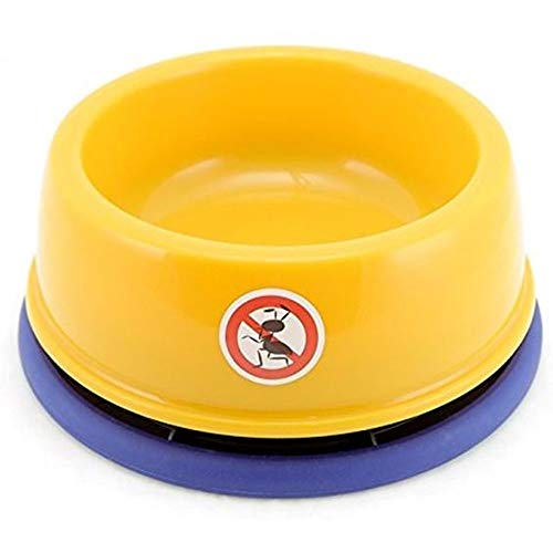 Dyl No-Ant Pet Bowl,for Puppy Smaller Dog or Cat,Plastic with Moat and Non-Slip,1 Cup(8Oz),Yellow