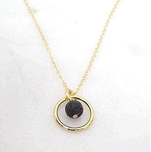 WLHLFL Collar Collar Personalizado para niñas Cadena de Perlas Negras Clásico Simple Collares Pendientes para Mujeres Amante de la joyería Collar Cadena Colgante para Mujeres Hombres