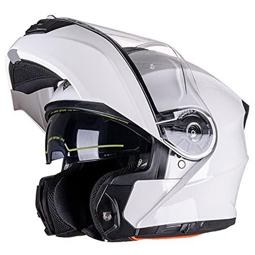Casco Moto Modular Homologado ECE, Casco De Moto Integral Scooter Para Mujer Hombre Adultos Casco Moto Abatible Con Doble Visera Lente Grande Casco De Motocicleta White,XL