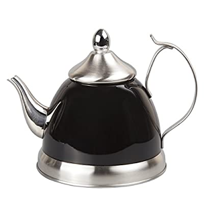Creative Home 1.0 Qt. Nobili Stainless Steel Tea Kettle with Removable Infuser Basket, Quart/ 32 Ounce, Filter Black
