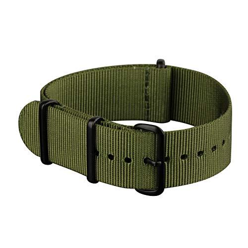 Infantry Uhrenarmband 20mm NATO Strap Army Militär Natoband Uhrband Ersatband Unisex Grün Nylonband Ersatz-Watch Armband mit Edelstahl Metall Schließe für Herren