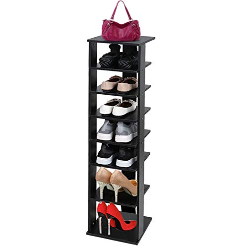 7-Tier Wooden Shoe Rack,Modern Freestanding Entryway Shoe Tower,Vertical Shoe Organizer, Wooden Shoe Storage Stand,Space Saving Vertical Shoe Multi Function Storage Shelves