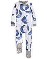 Burt's Bees Baby baby boys Unisex Pajamas, Zip-front Non-slip Footed Pjs, Organic Cotton and Toddler Sleepers, Indigo Hello Moon, 12 Months US