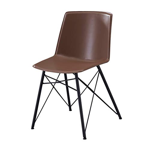 SLY Retro Lounge Stoelen, Industrieel Wind Smeedijzer Hotel Restaurant Dessert Milk Tea Restaurant PU Rugleuning Chair (Color : Coffee)
