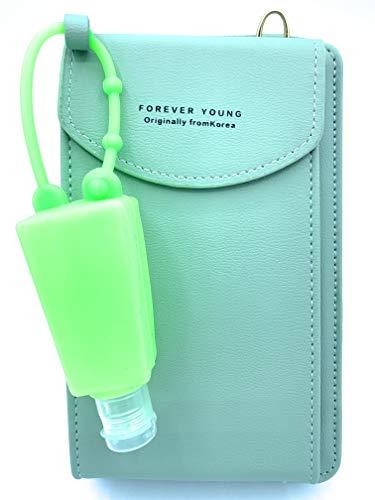 Mini Bolso Monedero Bandolera para Móvil Mujer + Bote Dispensador para Gel de Silicona (Verde Agua)