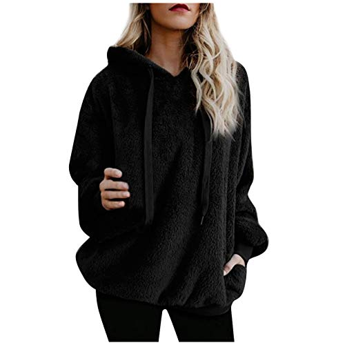 EuCoo Womens Thick Plush Hoody Warm Faux Fur Hoodie Coat Jacket Winter Pocket Long Sleeve Hooded Outerwear(D-Black,Large)