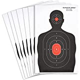 Juvale 50 Pack Paper Targets for Shooting Range, Practice, Firearms, Handguns, Airsoft, Throwing Knives with Red Bullseye (14 x 22 in, Silhouette)