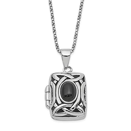 925 Sterling Silver Black Onyx Square Locket Chain Necklace 18 Inch Pendant Charm Fine Jewelry For Women Gifts For Her