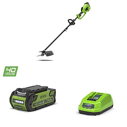 Greenworks Recortador Césped con Batería y Sense 2in1 GD40BC + 2 x Batería G40B25 + Cargador de baterías