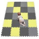 YIMINYUER Alfombras Puzzle para Bebé Alfombrilla Suelo Goma EVA Puntos Negro Amarillo Gris R04R05R12G301020