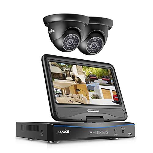 SANNCE Videoüberwachung Überwachungskamera Set mit 10,1 Zoll Display 4CH 720P all in one DVR Recorder Überwachungssystem mit 2 Kameras 720P für innen und außen Bereich ohne Festplatte