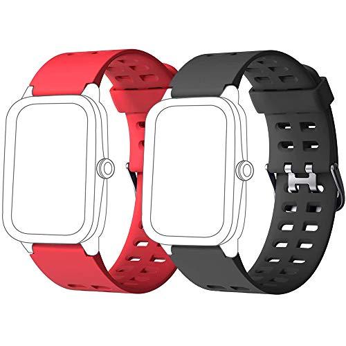 Yishark Cinturino per ID205 ID205L ID205S ID205U ID205G Orologio Fitness Tracker Cinturino di Ricambio per Smartwatch Activity Tracker (Nero + Rosso)