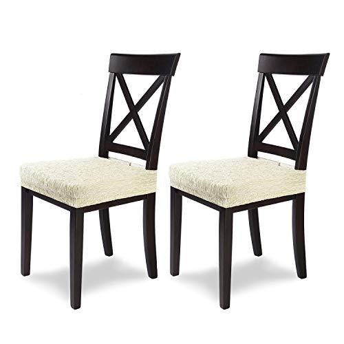 SCHEFFLER-Home Jara 2 Fundas para Asiento de sillas, Estirable Cubiertas, extraíble Funda con Banda elástica, Marfil