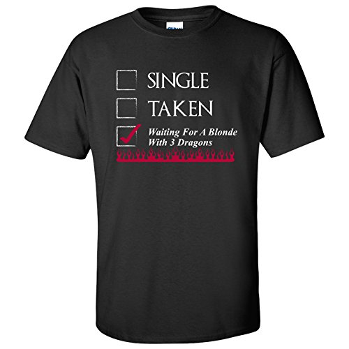Waiting for A Blonde with Three Dragons Funny Mens T-Shirt - Large - Black
