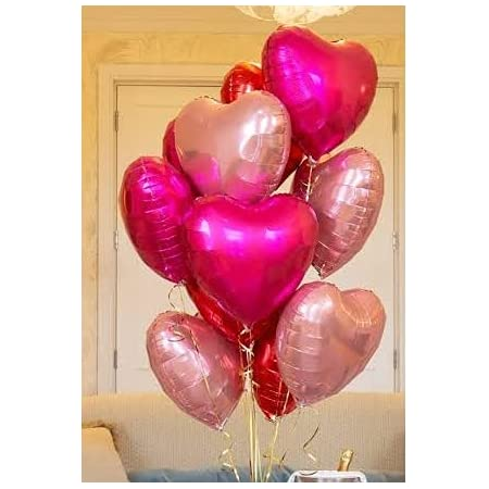 """Gleam® 10 Pcs 18"""" Heart Shape Foil Balloons Birthday Decoration Items or set / kit / Party supplies for Boys Or Girls   birthday Party decorations / Anniversary Celebration Decoration for Wife & Husband , Marriage , wedding party ,baby shower ,graduation party , ceremony , stage background ,Christmas party ,dance party , baby party , cocktail , disco and Bachelorette Decoration ( Rose Pink & Pink ) Pack of 10"""