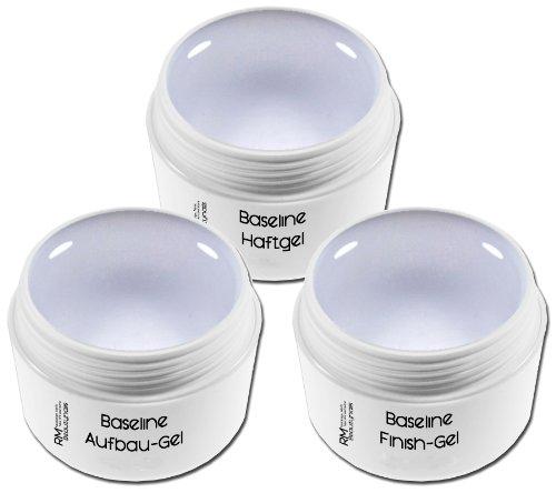 3er UV Gel Set Haftgel Aufbaugel Klar Mittel Versiegelungsgel je 5ml für Nageldesign