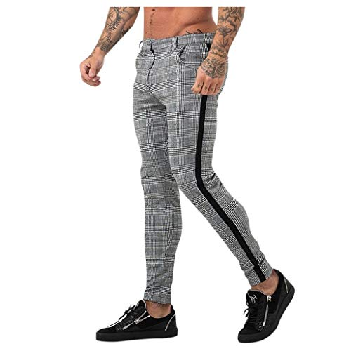 Minikimi business broek heren slim fit vrijetijdsbroek vintage geruit joggingbroek met ritssluiting stretch skinny sweatpants stijlvolle trainingsbroek streetwear