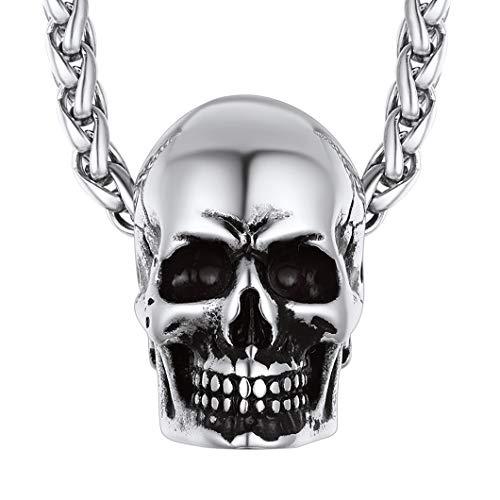 Richsteel Colgante Cráneo Collar de Calavera Acero Inoxidable Color Platino