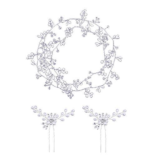 100cm Nupcial Cabello Accesorio para, Tocado Diadema para el Pelo de Novia Tiara Corona de Flores Mujer Adornos Accesorios para el Cabello para Boda Fiesta Velada(plata)