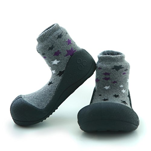 Attipas Twinkle Black- ergonomische Baby Lauflernschuhe, atmungsaktive Kinder Hausschuhe ABS Socken Babyschuhe Antirutsch 21.5