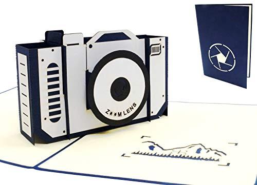 Lin 17570, Pop up Karte Geburtstag Kamera - 3D Karte, Pop Up Karte, POP UP Karten Geburtstag, Pop Up Geburtstagskarte, Kamera Grußkarte, Geburtstagskarten Fotografen, Gutschein Fotoapparat, N319