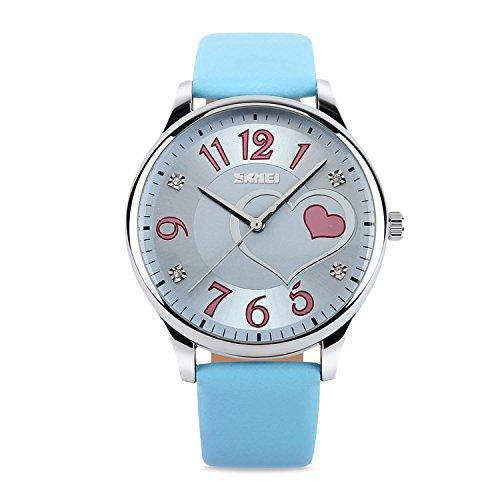 Reloj de pulsera, niñas, Lady Lovely corazón Dial analógico de cuarzo relojes con suave correa de cuero, color azul
