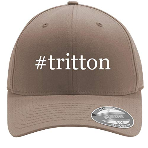 #Tritton - Adult Men's Hashtag Flexfit Baseball Hat Cap, Khaki, Large/X-Large