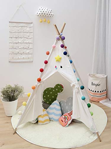 Tamia-Home Zelt Tipi Kinderzelt Spielzelt yum Bemalen + Fähnchen für Innen mit Baumwollsegeltuch und Holzstangen (Weiss)