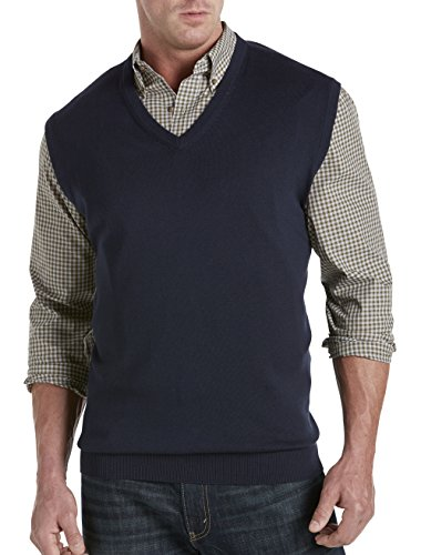 Harbor Bay by DXL Big and Tall V-Neck Sweater Vest, Navy, 5XL